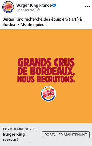 campagne recrutement Burger King